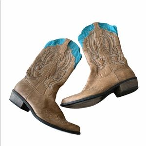 COCONUTS turquoise/tan cowgirl boots 6.5